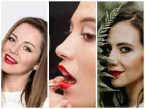 Piękne modelki z ustami pomalowanymi czerwoną szminką makijaż na lato 2020