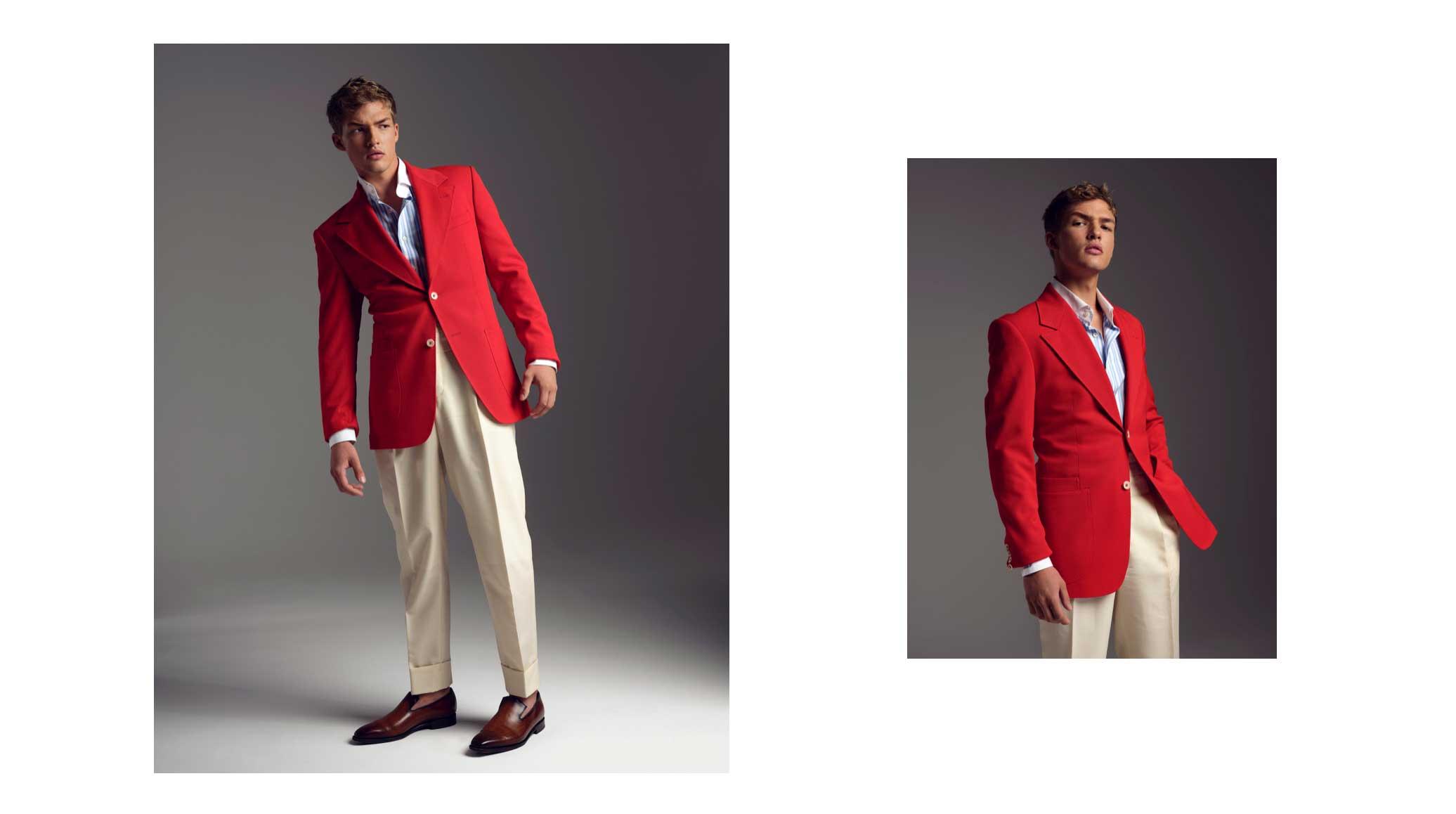 Profesjonalny model w stylowym garniturze w kontrastujących barwach