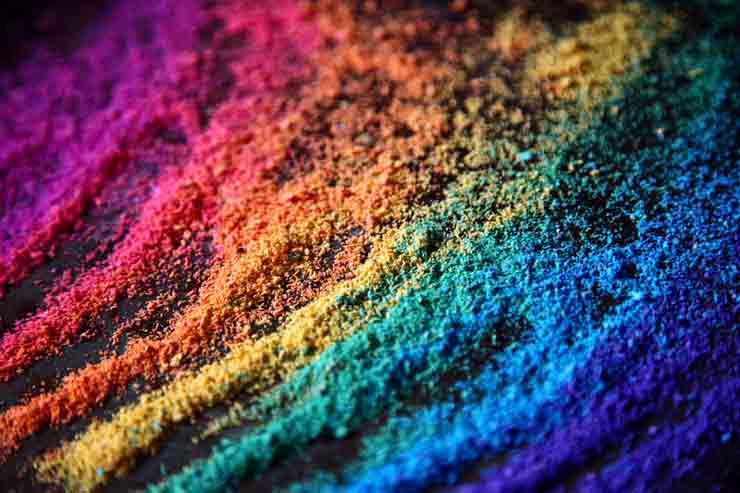 Żywe kolory używane w makijażu ujęcie macro